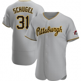 Men's A.J. Schugel Pittsburgh Gray Authentic Road Baseball Jersey (Unsigned No Brands/Logos)