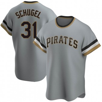 Men's A.J. Schugel Pittsburgh Gray Replica Road Cooperstown Collection Baseball Jersey (Unsigned No Brands/Logos)