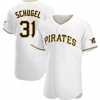 Men's A.J. Schugel Pittsburgh White Authentic Home Baseball Jersey (Unsigned No Brands/Logos)
