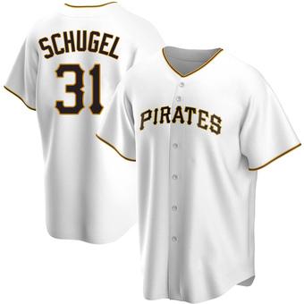 Men's A.J. Schugel Pittsburgh White Replica Home Baseball Jersey (Unsigned No Brands/Logos)