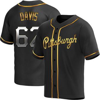Men's Austin Davis Pittsburgh Black Golden Replica Alternate Baseball Jersey (Unsigned No Brands/Logos)