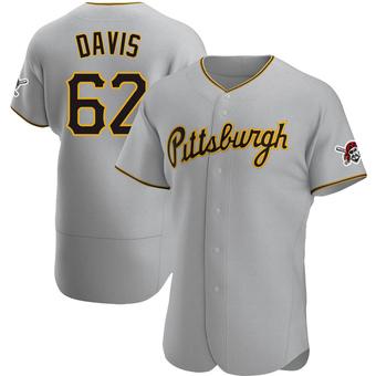 Men's Austin Davis Pittsburgh Gray Authentic Road Baseball Jersey (Unsigned No Brands/Logos)