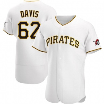 Men's Austin Davis Pittsburgh White Authentic Home Baseball Jersey (Unsigned No Brands/Logos)
