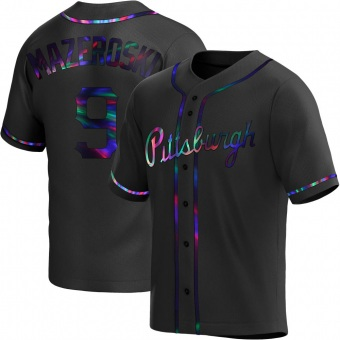 Men's Bill Mazeroski Pittsburgh Black Holographic Replica Alternate Baseball Jersey (Unsigned No Brands/Logos)
