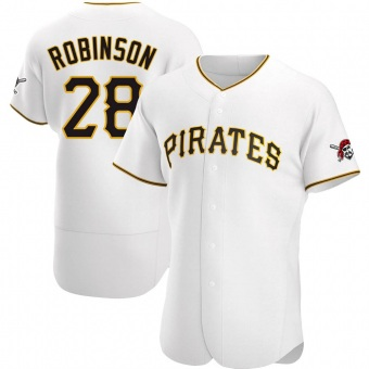 Men's Bill Robinson Pittsburgh White Authentic Home Baseball Jersey (Unsigned No Brands/Logos)