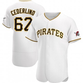 Men's Blake Cederlind Pittsburgh White Authentic Home Baseball Jersey (Unsigned No Brands/Logos)