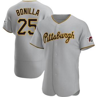 Men's Bobby Bonilla Pittsburgh Gray Authentic Road Baseball Jersey (Unsigned No Brands/Logos)