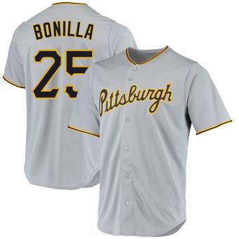 Men's Bobby Bonilla Pittsburgh Gray Replica Road Baseball Jersey (Unsigned No Brands/Logos)