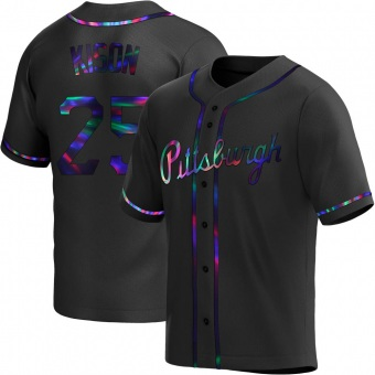 Men's Bruce Kison Pittsburgh Black Holographic Replica Alternate Baseball Jersey (Unsigned No Brands/Logos)