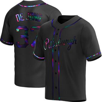 Men's Chase De Jong Pittsburgh Black Holographic Replica Alternate Baseball Jersey (Unsigned No Brands/Logos)
