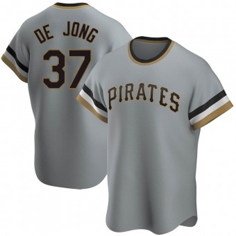 Men's Chase De Jong Pittsburgh Gray Replica Road Cooperstown Collection Baseball Jersey (Unsigned No Brands/Logos)