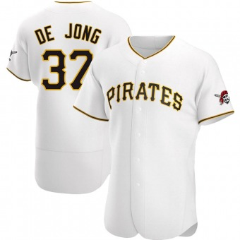 Men's Chase De Jong Pittsburgh White Authentic Home Baseball Jersey (Unsigned No Brands/Logos)