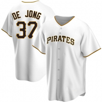 Men's Chase De Jong Pittsburgh White Replica Home Baseball Jersey (Unsigned No Brands/Logos)