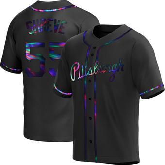 Men's Chasen Shreve Pittsburgh Black Holographic Replica Alternate Baseball Jersey (Unsigned No Brands/Logos)