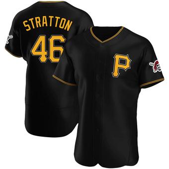 Men's Chris Stratton Pittsburgh Black Authentic Alternate Baseball Jersey (Unsigned No Brands/Logos)