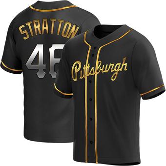 Men's Chris Stratton Pittsburgh Black Golden Replica Alternate Baseball Jersey (Unsigned No Brands/Logos)
