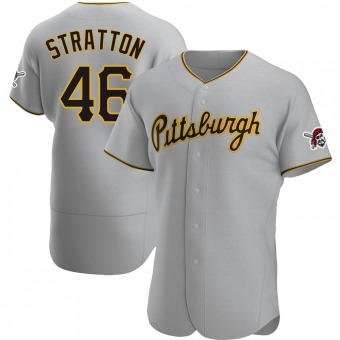 Men's Chris Stratton Pittsburgh Gray Authentic Road Baseball Jersey (Unsigned No Brands/Logos)