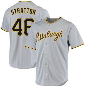 Men's Chris Stratton Pittsburgh Gray Replica Road Baseball Jersey (Unsigned No Brands/Logos)