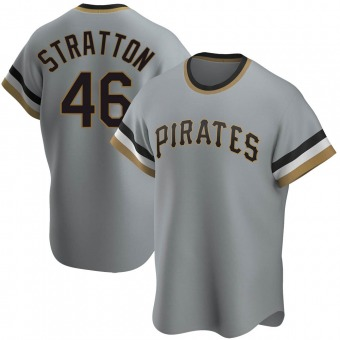 Men's Chris Stratton Pittsburgh Gray Replica Road Cooperstown Collection Baseball Jersey (Unsigned No Brands/Logos)