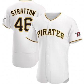 Men's Chris Stratton Pittsburgh White Authentic Home Baseball Jersey (Unsigned No Brands/Logos)