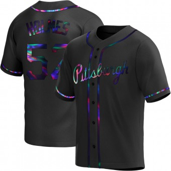 Men's Clay Holmes Pittsburgh Black Holographic Replica Alternate Baseball Jersey (Unsigned No Brands/Logos)