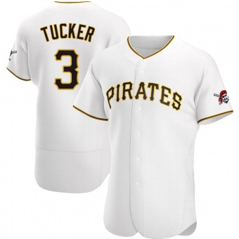 Men's Cole Tucker Pittsburgh White Authentic Home Baseball Jersey (Unsigned No Brands/Logos)