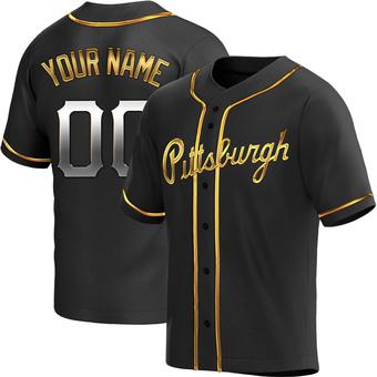Men's Custom Pittsburgh Black Golden Replica Alternate Baseball Jersey (Unsigned No Brands/Logos)