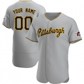 Men's Custom Pittsburgh Gray Authentic Road Baseball Jersey (Unsigned No Brands/Logos)