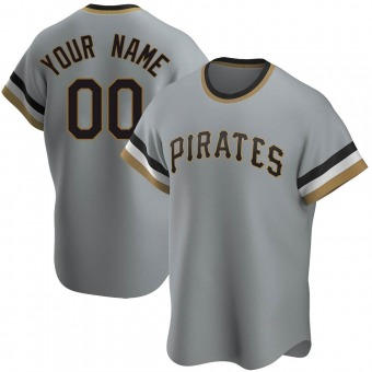 Men's Custom Pittsburgh Gray Replica Road Cooperstown Collection Baseball Jersey (Unsigned No Brands/Logos)