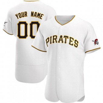 Men's Custom Pittsburgh White Authentic Home Baseball Jersey (Unsigned No Brands/Logos)