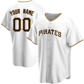 Men's Custom Pittsburgh White Replica Home Baseball Jersey (Unsigned No Brands/Logos)