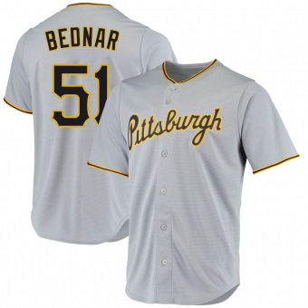 Men's David Bednar Pittsburgh Gray Replica Road Baseball Jersey (Unsigned No Brands/Logos)