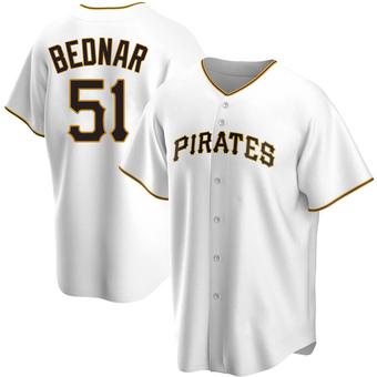 Men's David Bednar Pittsburgh White Replica Home Baseball Jersey (Unsigned No Brands/Logos)