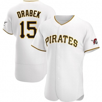Men's Doug Drabek Pittsburgh White Authentic Home Baseball Jersey (Unsigned No Brands/Logos)