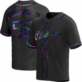 Men's Duane Underwood Jr. Pittsburgh Black Holographic Replica Alternate Baseball Jersey (Unsigned No Brands/Logos)