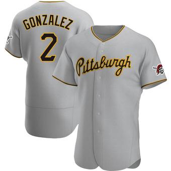Men's Erik Gonzalez Pittsburgh Gray Authentic Road Baseball Jersey (Unsigned No Brands/Logos)
