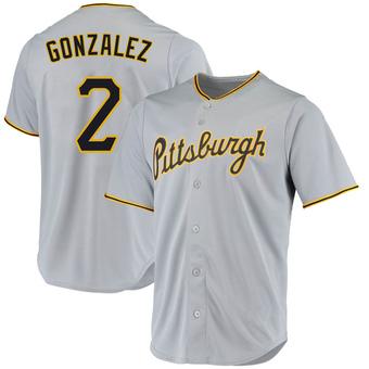 Men's Erik Gonzalez Pittsburgh Gray Replica Road Baseball Jersey (Unsigned No Brands/Logos)