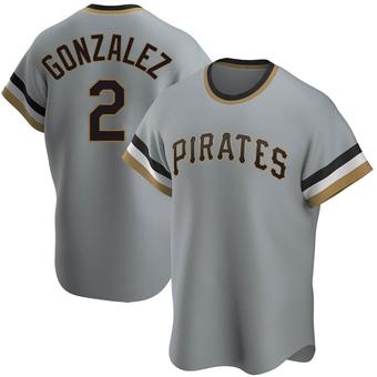 Men's Erik Gonzalez Pittsburgh Gray Replica Road Cooperstown Collection Baseball Jersey (Unsigned No Brands/Logos)