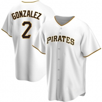 Men's Erik Gonzalez Pittsburgh White Replica Home Baseball Jersey (Unsigned No Brands/Logos)