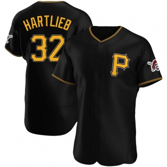 Men's Geoff Hartlieb Pittsburgh Black Authentic Alternate Baseball Jersey (Unsigned No Brands/Logos)