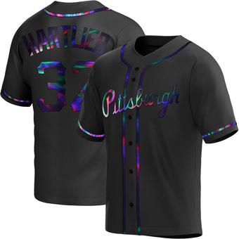 Men's Geoff Hartlieb Pittsburgh Black Holographic Replica Alternate Baseball Jersey (Unsigned No Brands/Logos)