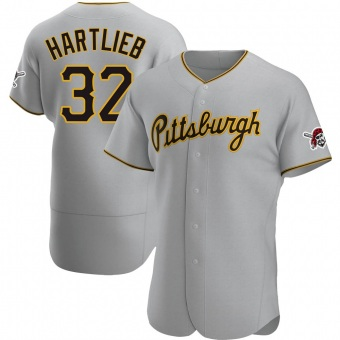 Men's Geoff Hartlieb Pittsburgh Gray Authentic Road Baseball Jersey (Unsigned No Brands/Logos)