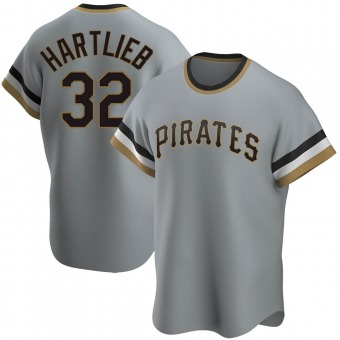 Men's Geoff Hartlieb Pittsburgh Gray Replica Road Cooperstown Collection Baseball Jersey (Unsigned No Brands/Logos)