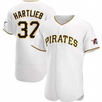 Men's Geoff Hartlieb Pittsburgh White Authentic Home Baseball Jersey (Unsigned No Brands/Logos)