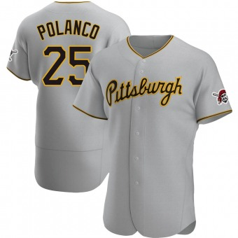 Men's Gregory Polanco Pittsburgh Gray Authentic Road Baseball Jersey (Unsigned No Brands/Logos)