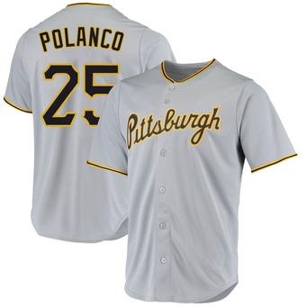 Men's Gregory Polanco Pittsburgh Gray Replica Road Baseball Jersey (Unsigned No Brands/Logos)