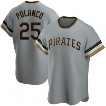 Men's Gregory Polanco Pittsburgh Gray Replica Road Cooperstown Collection Baseball Jersey (Unsigned No Brands/Logos)