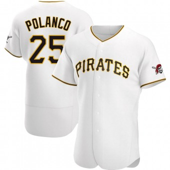 Men's Gregory Polanco Pittsburgh White Authentic Home Baseball Jersey (Unsigned No Brands/Logos)