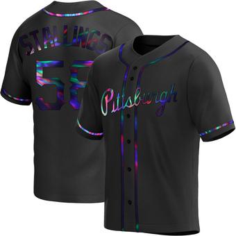 Men's Jacob Stallings Pittsburgh Black Holographic Replica Alternate Baseball Jersey (Unsigned No Brands/Logos)