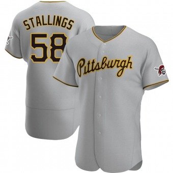Men's Jacob Stallings Pittsburgh Gray Authentic Road Baseball Jersey (Unsigned No Brands/Logos)